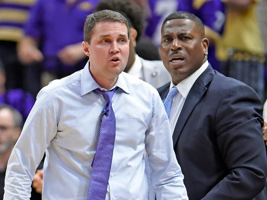 LSU head coach Will Wade, left, and assistant coach Tony Benford