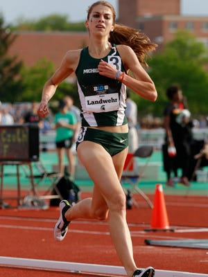 MSU's Katie Landwehr took third place in the 3,000 meter steeplechase during the Big Ten championships Saturday, May 16, 2015, in East Lansing, Mich.