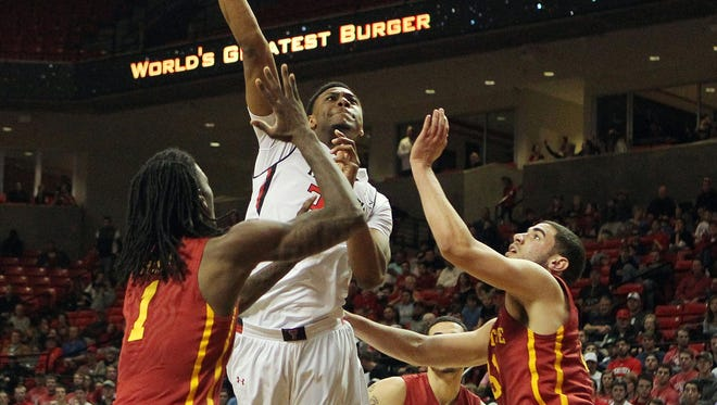 Texas Tech Red Raiders forward Alex Foster (34) shoots the ball against the Iowa State Cyclones in the first half at United Supermarkets Arena Saturday. The Cyclones have an opportunity to bounce back from their upset loss on Big Monday.