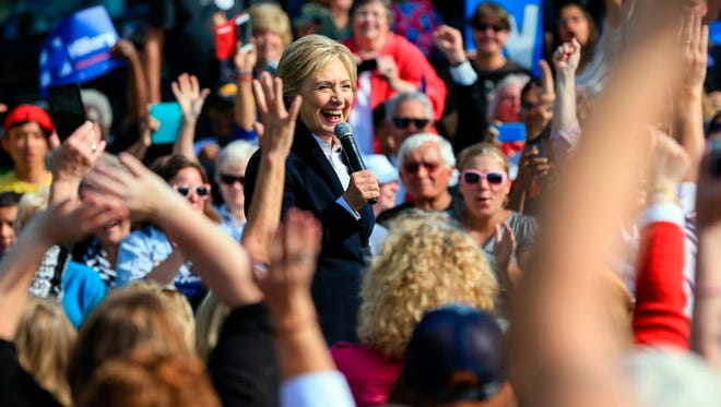 Democratic presidential candidate Hillary Clinton campaigns Wednesday in Council Bluffs, Iowa.