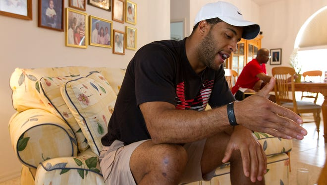 Nate Allen, a Philadelphia Eagles safety for the past five seasons and a 2006 Cape Coral High School graduate, speaks to The News-Press today  at his parents' home in Cape Coral. Allen spent almost five hours in a holding cell at the Fort Myers Police Department on Monday evening, not knowing why he was pulled over and detained.