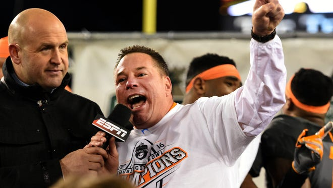 Tennessee Volunteers head coach Butch Jones celebrates after the team's victory at the Franklin American Mortgage Music City Bowl at Nissan Stadium in Nashville, Tenn., Friday, Dec. 30, 2016. Tennessee won 38-24.