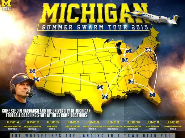 Jim Harbaugh and the Michigan coach staff will participate as coaches in camp at Bishop Chatard on June 4.