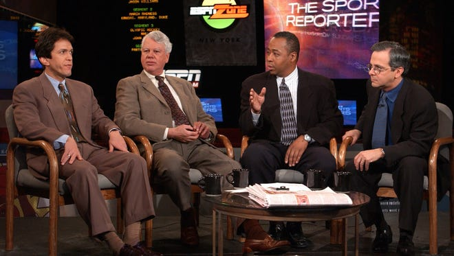 "(From left) Mitch Albom, Bob Ryan, John Saunders and Mike Lupica on the set of ""The Sports Reporters"" in 2002 in New York."