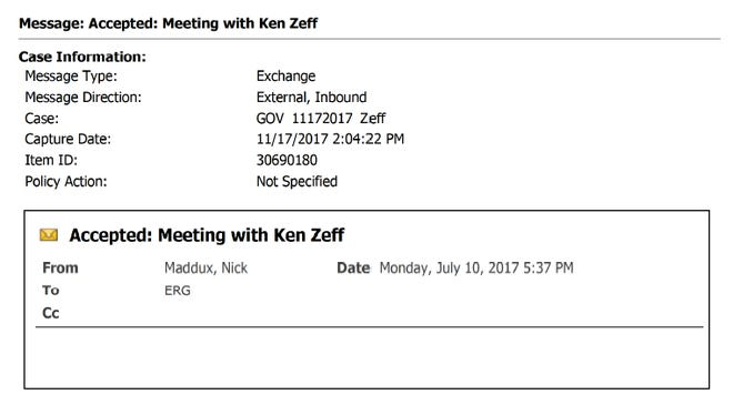 An official meeting notice for Gov. Eric Greitens and Ken Zeff, the Georgia charter school leader, set up by deputy chief of staff Nick Maddux.
