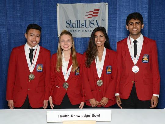 Members of the SCVTHS silver medal winning Health Knowledge Bowl team (l-r) Matthew Natividad of Somerset, Julia Garaffa of Skillman, Palak Shah of Hillsborough and Parth Patel of Raritan.