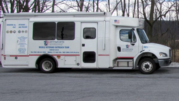 The Pennsylvania Mobile Veterans Outreach van will be stationed at the Lebanon Municipal Building, 400 S. Eighth St., Lebanon, from 9 a.m. to 3 p.m. Tuesday, May 31, to Wednesday, June 1. The van will be staffed by two accredited veterans service officers who will provide information and assistance to veterans and family members who may be eligible for benefits. The officers will assist veterans with such benefits as service connected disability compensation, improved pensions, health care benefits, burial benefits, education benefits, vocational rehabilitation, and much more. The van is wheelchair accessible. In honor of the commemoration of Memorial Day, Lebanon County Sheriff Bruce E. Klingler has coordinated with the state Department of Military and Veterans Affairs for the van's visit.