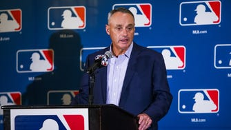 Major League Baseball Commissioner Robert Manfred takes questions from the press during media day at the Arizona Biltmore , Tuesday, February 21, 2017.
