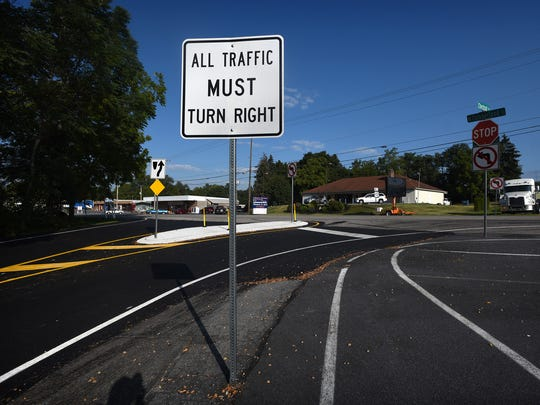 The intersection of Route 422 and Chestnut Street in North Cornwall Township has seen improvements, and the recent road work has  made the fact that a left turn is illegal at this intersection more visible.