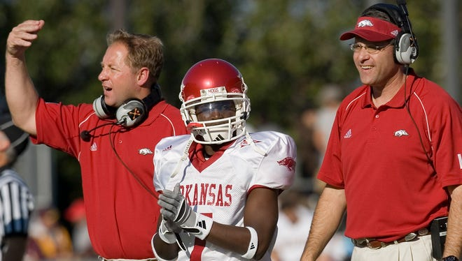Mike Markuson (left) worked with Gus Malzahn at Arkansas in 2006.