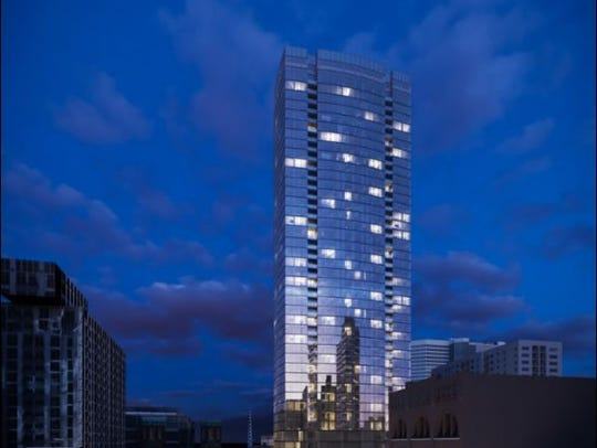 A rendering of 505, downtown Nashville's tallest residential