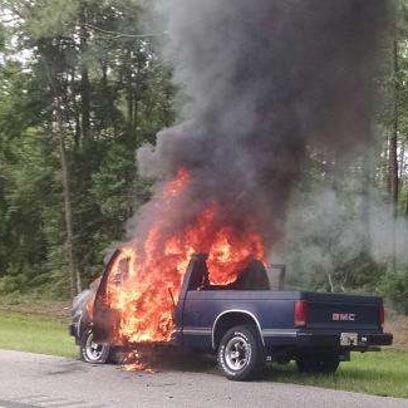 A pickup truck caught fire on I-95 north of International