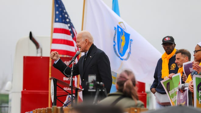 Joe Biden spoke to striking workers in April 2019 at a rally outside the South Bay Stop & Shop in Dorchester.