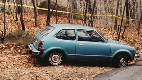 Gus DeFreese's car at the scene of his killing in 1985.