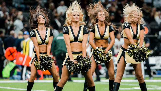 The New Orleans Saints cheerleaders, the  Saintsations, perform at halftime of a 2017 game against the Washington Redskins.