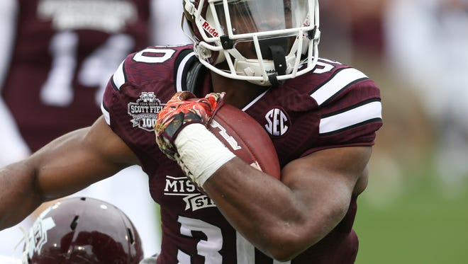 Mississippi State running back Nick Gibson produced in the spring game and is finally seeing carries in the regular season.