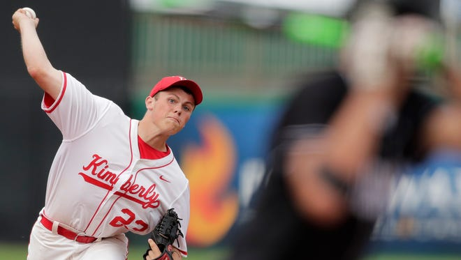 Kimberly's Davis Matz delivers a pitch during Tuesday's WIAA Division 1 state baseball quarterfinal against Waunakee at Neuroscience Group Field at Fox Cities Stadium in Grand Chute.