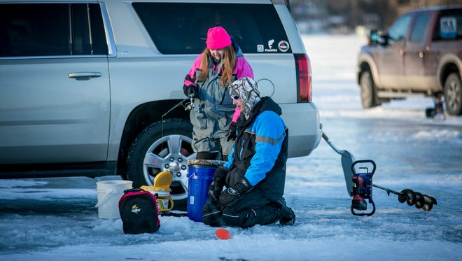Ice Team Member Corey Bechtold gives advice on hooking channel catfish through the ice. Bechtold has fished channel catfish on the Horseshoe Chain for over 15 years.