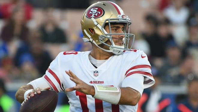 Quarterback Jimmy Garoppolo went 5-0 as a starter after being traded to the San Francisco 49ers last season.