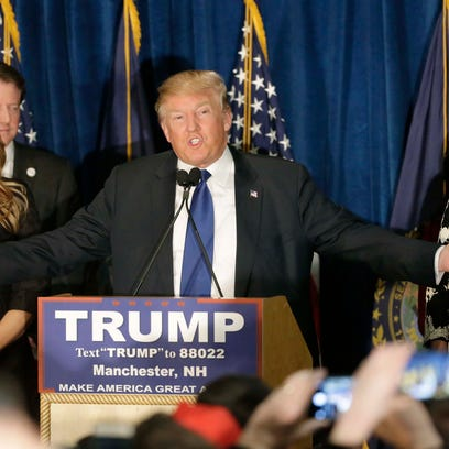 Donald Trump speaks to supporters during a primary