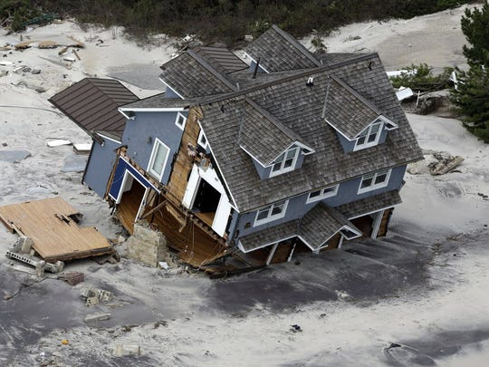 A collapsed house along the central Jersey Shore coast
