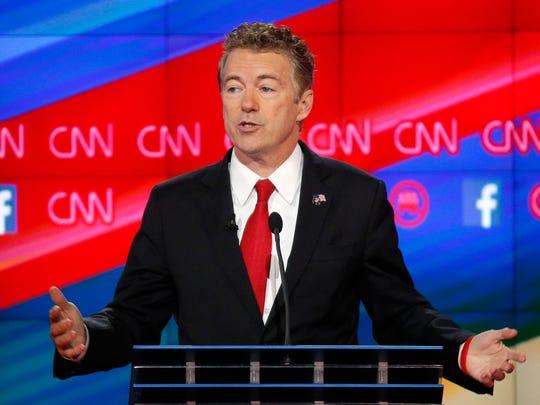 Rand Paul speaks during the CNN Republican presidential