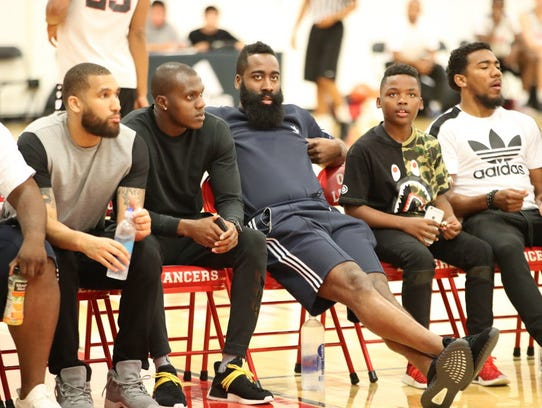 James Harden looks on during the Big Ballers vs. Compton