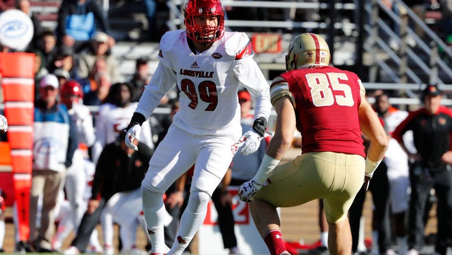 Louisville linebacker James Hearns during the second half against Boston College.