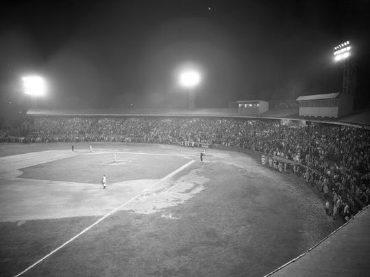 The first night game at Bosse Field was Aug. 12, 1931.
