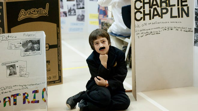 Malachi Warner portrays Charlie Chaplin during the Wax Museum project at Concord Elementary School in Concord.