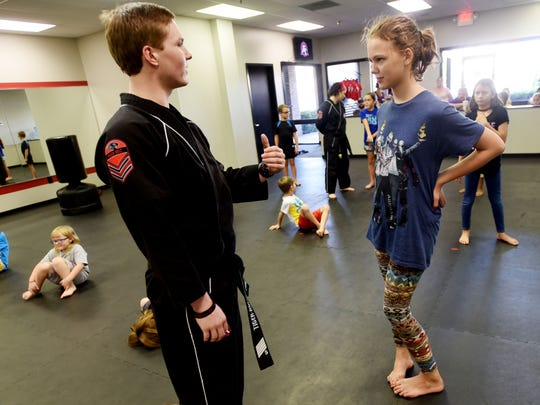 Britt Harrell talks to Cheyenne Roberts during the