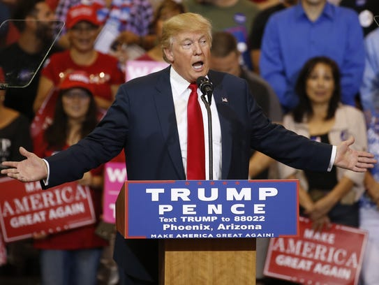 President Donald Trump speaks at a campaign rally in