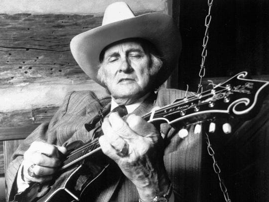 """Bill Monroe recorded signature songs """"Uncle Pen,"""" """"New Mule Skinner Blues"""" and """"Blue Moon of Kentucky."""""""