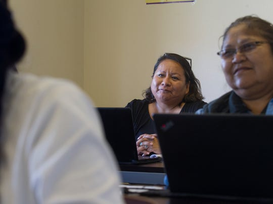 Student Peggy Bahe participates in class Wednesday at Navajo Technical University in Crownpoint.