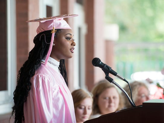 Dontasia Conner delivers a speech during the graduation