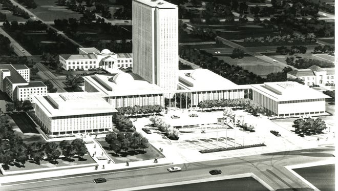 One of the drawings created by architect Edward Durrell Stone during the design process for the new Capitol. Here, the old Capitol has been demolished and replaced with a plaza.