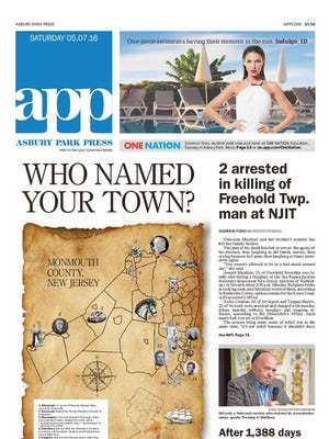 Asbury Park Press front page, Saturday, May 7, 2016