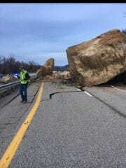 A boulder slide closed Route 7 in Chesapeake, Ohio