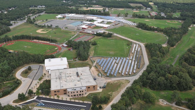 An overview of the solar-panel array at Central Regional High School, one of two schools in the Central Regional School District.