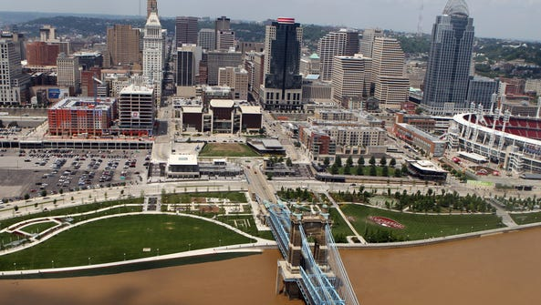 High water of the Ohio River approaches Smale Riverfront
