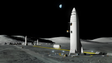 A rendering of SpaceX's BFR delivering cargo to a lunar