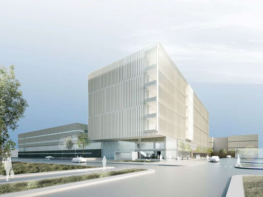Rendering of the new Wayne County criminal justice center that will be built at the I-75 Service Drive and East Warren Avenue in Detroit.