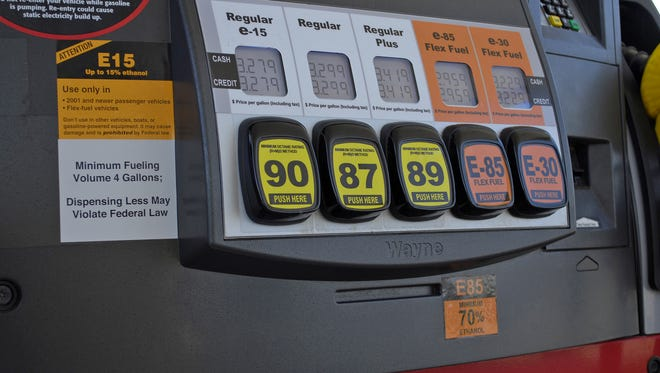 A Lawrence, Kansas, fueling station pump with various grades of fuel, including E15