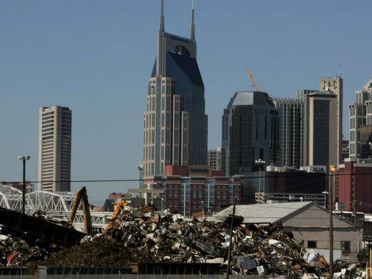 PSC Metals' scrapyard, seen from Interstate 24 in 2006, is considered an eyesore by some people.