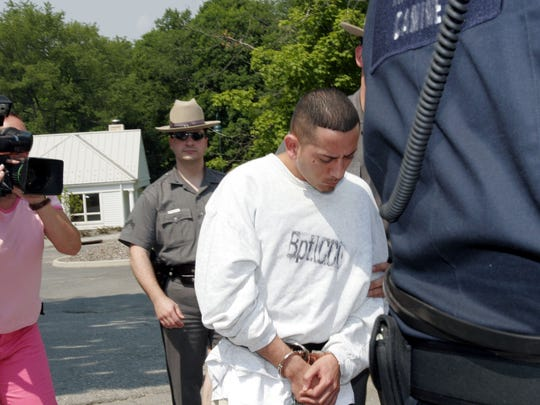 Ariel Menendez leaves the North Salem town court in