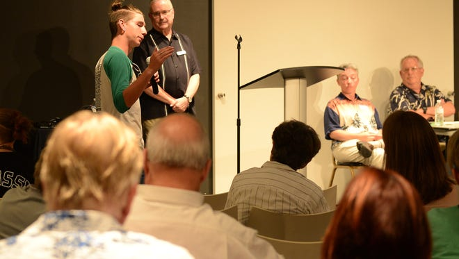 Former Cape Henlopen School District students speak about their feelings of how they are treated in the schools during the public community meeting to discuss the culture in the Cape Henlopen School District on Monday, June 19, 2017.
