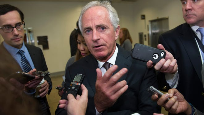 Sen. Bob Corker, R-Tenn., campaigned with presumptive GOP presidential nominee Donald Trump on Tuesday. Trump is expected to name a vice presidential candidate soon.