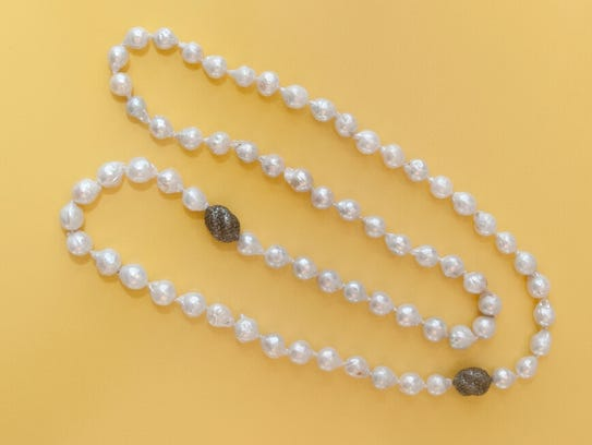 Baroqu Pearls with diamond pavŽ balls by What A Girl