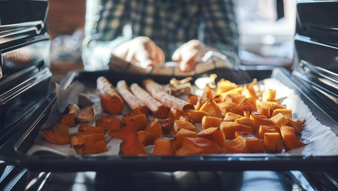 One advantage of sweet potatoes, pumpkin, and the fall/winter squash is that they can be stored for a long time in a cool dry place.  They also tend to be relatively inexpensive.