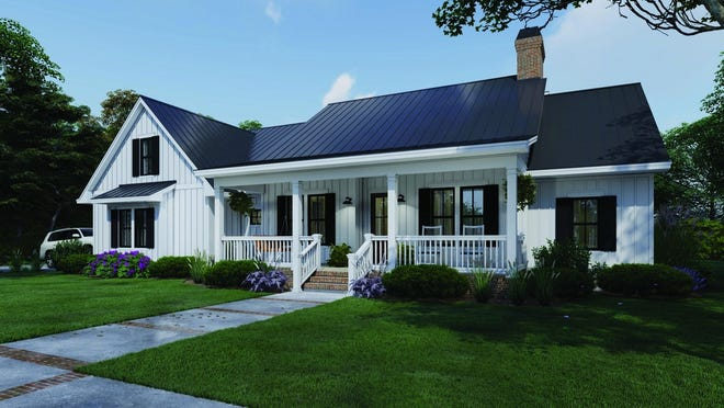 Board-and-batten siding and a metal roof deliver country charm, while a front porch invites relaxation.